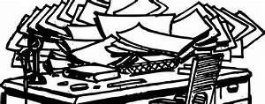 messy desk clipart black and white - Clipground