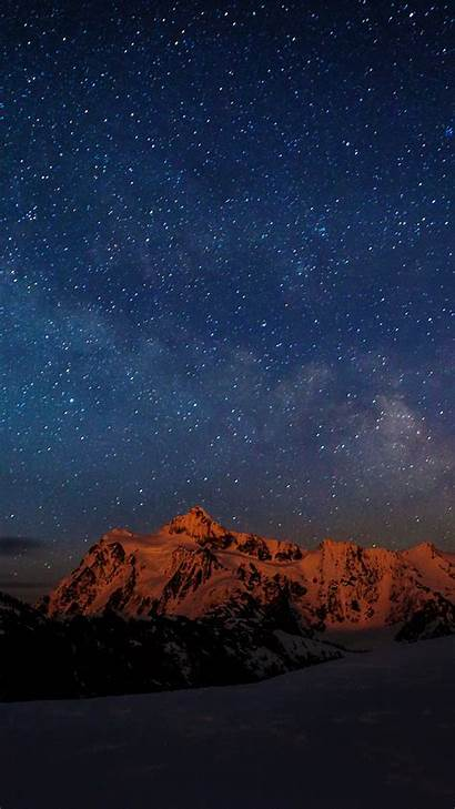Sky Starry Night Mountain Nature Iphone Wallpapers