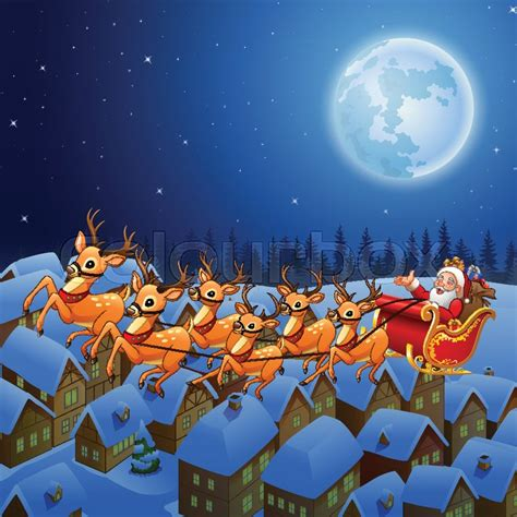 vector illustration  santa claus riding  reindeer