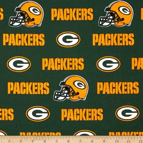 nfl cotton broadcloth green bay packers white green yellow discount designer fabric fabric com