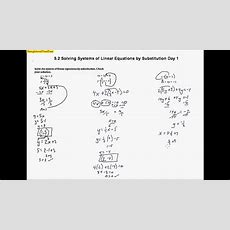 5 2 Solving Systems Of Linear Equations By Substitution Day 1 Youtube
