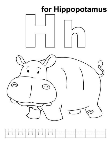 cute hippo learn letter  coloring page  images