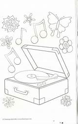 Coloring Pages Record Player Christmas Musical Stamps Doodles Colors Digital Children sketch template