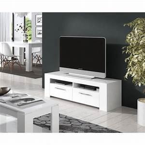 Meuble Tv Blanc Laqué : diamentino meuble tv contemporain blanc brillant l 120 cm achat vente meuble tv diamentino ~ Teatrodelosmanantiales.com Idées de Décoration