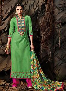 Pink And Green Chanderi Cotton Embroidered Pakistani
