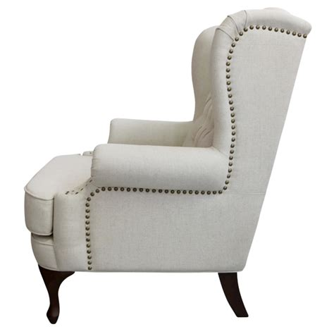 european design french upholstered wing chair  linen
