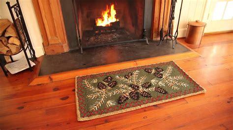 Fireproof Mats - resistant hooked wool pine cone rug sku 33720 plow