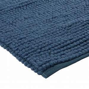 petit tapis bleu en laine fait main 70x110cm With tapis en laine fait main