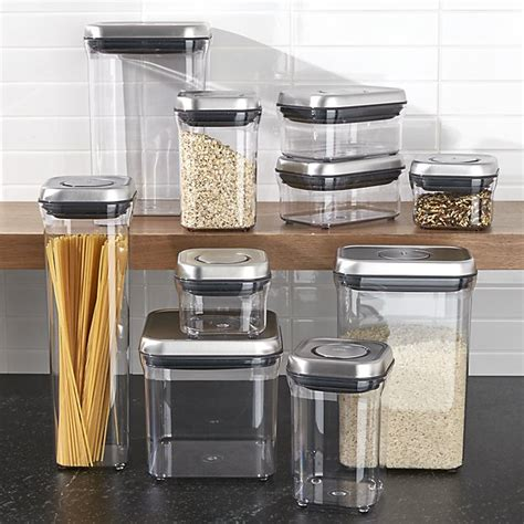 airtight kitchen storage oxo 174 steel pop containers set of 10 crate and barrel 1185