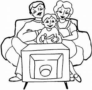 Disegno di Famiglia che guarda la TV da colorare Disegni