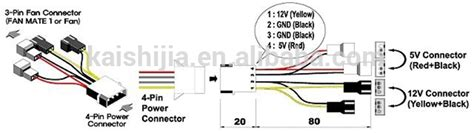 Laptop Fan Wire Diagram by 4pin Molex To Fan Cable 4x 3 Pin Fan Power Splitter Cable