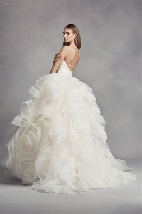 Spaghetti Strap V Neck Organza Rosette Ball Gown Wedding