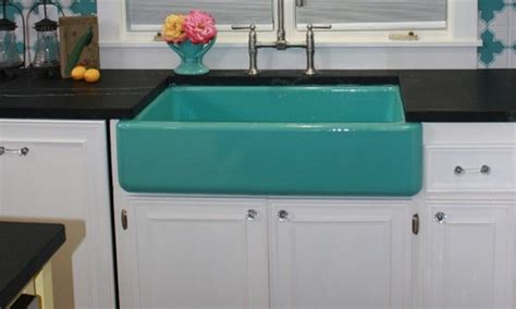 coloured kitchen sinks need a pop of color in your kitchen try kohler s apron 6270