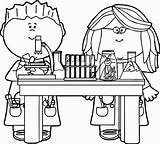 Coloring Clipart Pages Science Lab Scientist Printable Library Clip sketch template