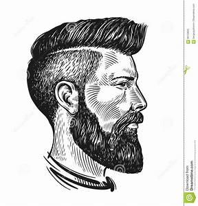 Retrato Dibujado Mano Del Hombre En Perfil Bosquejo Del ...
