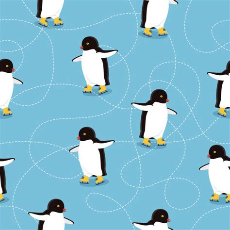 penguin sliding illustrations royalty  vector