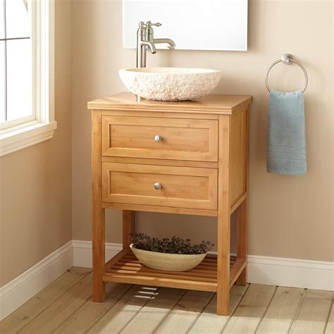 narrow vessel sink vanity 24 quot narrow depth taren bamboo vessel sink vanity bathroom