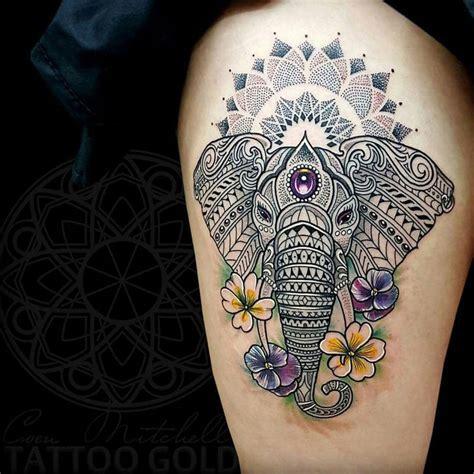 mosaic elephant mandala thigh piece  tattoo design