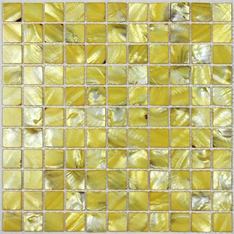 yellow sea shell mosaic of pearl tile kitchen