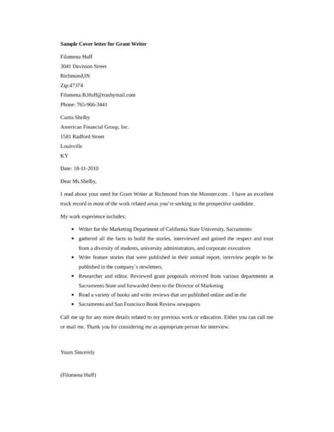features writer cover letter basic grant writer cover letter sles and templates