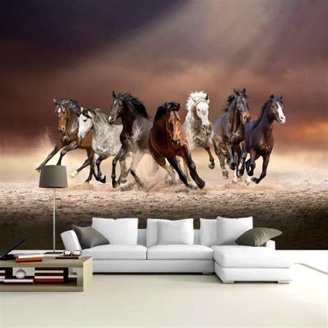 running horses  vastu living room wall murals