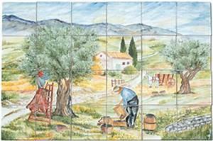 Decoration Murale Exterieur Provencale : carrelage d coration cueillette des olives fresque ~ Nature-et-papiers.com Idées de Décoration