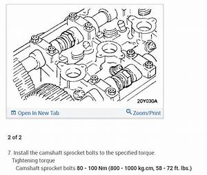 What Are The Torque Specs For The Camshaft Bolts On The 2 4l