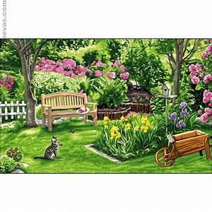 Jardin Dessin Couleur : canevas antique c t jardin royal paris la maison ~ Melissatoandfro.com Idées de Décoration