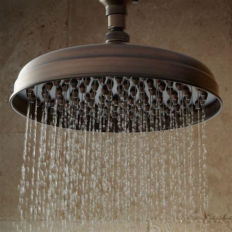 shower rubbed bronze 8 quot lambert rainfall nozzle shower 15 quot ornate arm