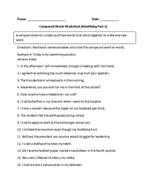 identifying compound words worksheet english compound