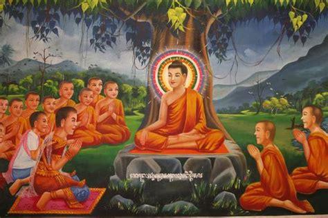painting depicting buddha teaching   tree