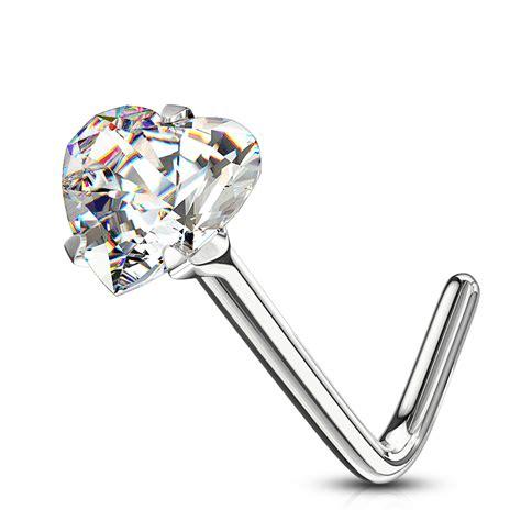 Sievišķīgs deguna pīrsinga gredzens ar sirds formas kristālu