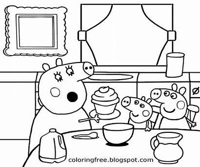 Peppa Pig Coloring Kitchen Cartoon Colorir Desenhos