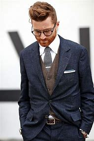 Grey Suit with Navy Blue Shirt