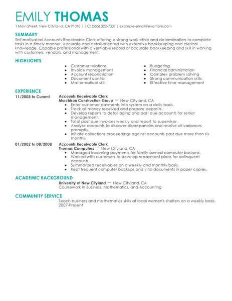 Account Profile Resume by Best Accounts Receivable Clerk Resume Exle From