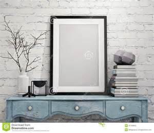 home interiors picture frames mock up poster frame on vintage chest of drawers interior stock illustration image 47700825