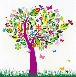 Abstract Tree with Flower Patterns | Free Vector Graphics ...