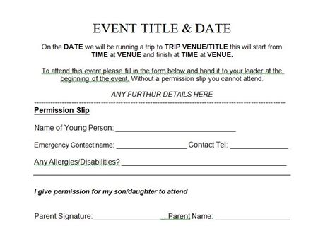 Permission Slip Template 35 Permission Slip Templates Field Trip Forms Free