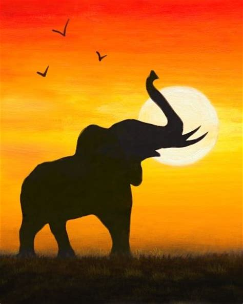 elephant silhouette sunset painting 17 best images about sketchbook ideas on the