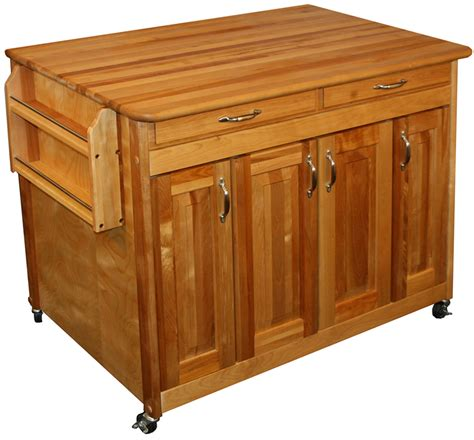 Butcher Block Work Station In Kitchen Island Carts