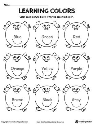 preschool and colors printable worksheets 959   Learning Colors Blue Green Red Orange Brown Black Gray Yellow Purple