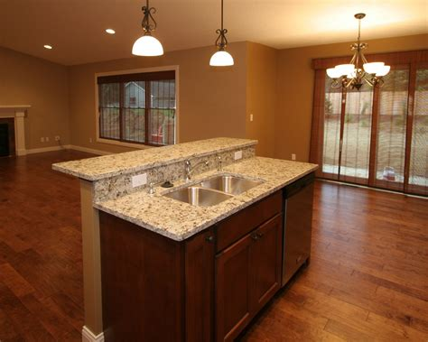 2 level kitchen island this two level island design hides sink from sight