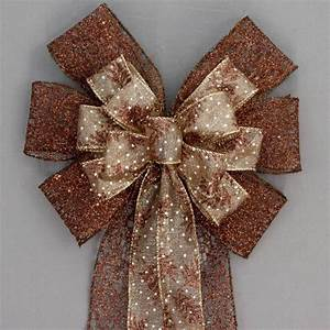 Brown, Metallic, Mesh, Pine, Christmas, Fall, Bow, -, Available, In, 2, Sizes