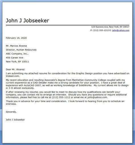 graphic design cover letter sample  cover letter
