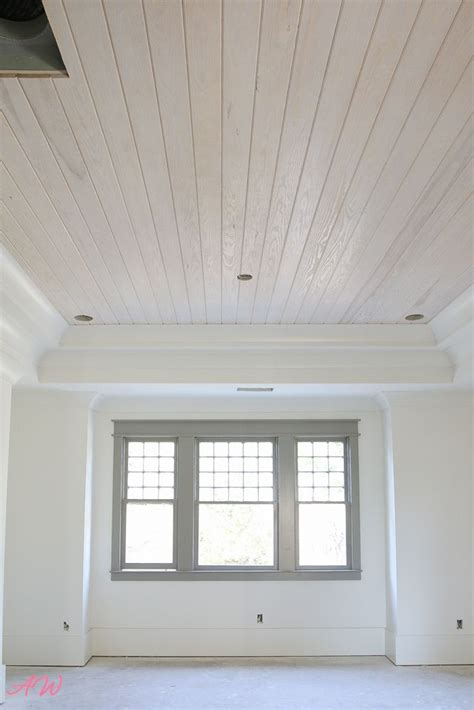 nailed    stained wood plank ceiling