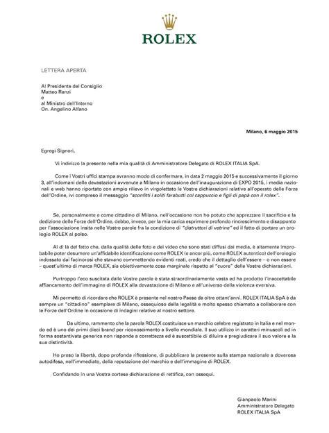 rolex protesta contro renzi  alfano  lassociazione