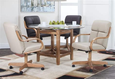 fremont dining set caster chairs swivel tilt solid oak arms