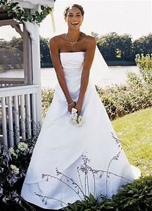 David39s bridal sample wedding dress satin a line with for David s bridal wedding dresses on sale