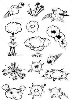 Comic Book Explosion Bubbles by mahmuttibet | GraphicRiver | Comic book drawing, Comic bubble