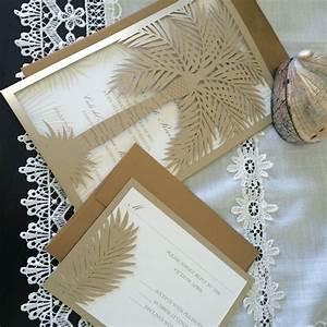 custom laser cut wedding invitation palm tree tropical With wedding invitations palm tree theme